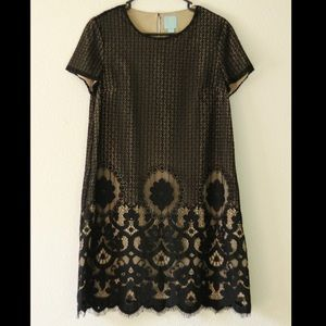 CeCe Black Lace Nude Dress Size 6